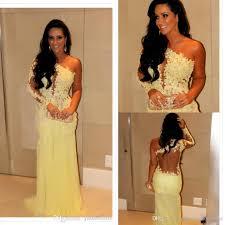 2014 oscar yellow mermaid lace long sleeve prom dresses sheer