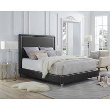 Queen Size Platform Bed - inspired home hayworth pu leather nailhead trim queen size