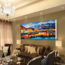 harbor boats abstract scenery painting dining room bedroom wall