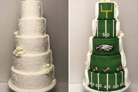 themed wedding cakes philadelphia couples gets eagles themed wedding cake simplemost
