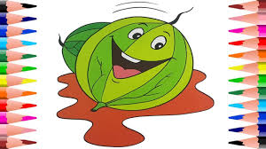 painting watermelon and pear coloring pages how to learn fruits