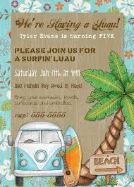 surf shack birthday party invitation printable 5x7 digital file