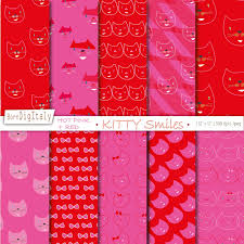 commercial wrapping paper cats printable paper pack digital background scrapbook