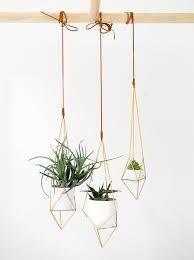 geometric brass hanging planter u2013 vintage revivals shop
