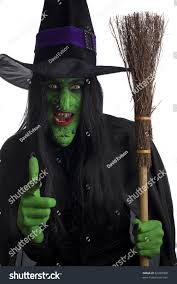 halloween scary background green scary green witch carrying her broom stock photo 82320988