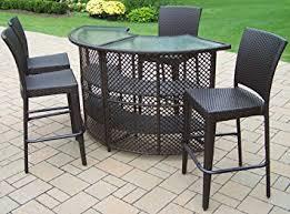 Round Patio Furniture Set Amazon Com Oakland Living Elite Resin Wicker Half Round 5 Piece