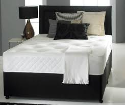 4ft bed small double divan bed base only in black faux leather