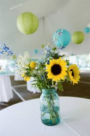 sunflower centerpiece creative idea awesome yellow sunflowers in clear blue jar