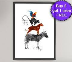 bremen town musicians watercolor art print donkey dog cat