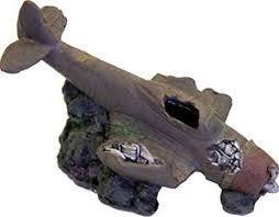 plane cave vehicle fish tank ornament decor aquarium