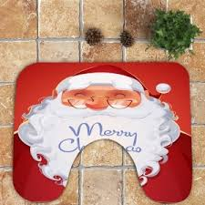 Santa Claus Rugs Red White Smiling Santa Claus Pattern 3pcs Bath Toilet Rug Set