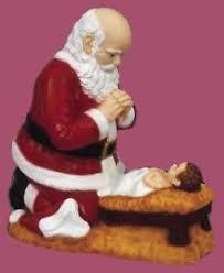 santa and baby jesus display with 24 kneeling santa with baby jesus statue
