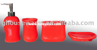 7pcs cute ceramic red bathroom accessories set china bathroom