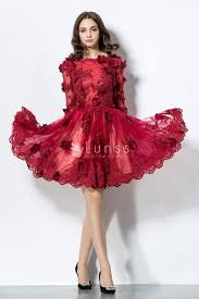unique flower adorned long sleeve ruby cocktail prom dress lunss