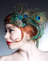 absinthe nymph flapper headband peacock feather headband 1920s