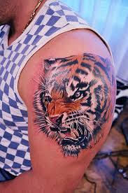 tiger on shoulder tattoos