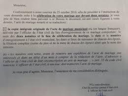 demander acte de mariage mariage en tunisie demande complément de papiers