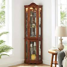 tempered glass shelves for kitchen cabinets gracious corner curio cabinet with tempered glass door and light system 5 tier with adjustable glass shelves display cabinet walnut