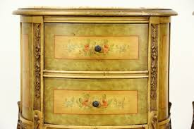 Antique Nightstands With Marble Top Sold Pair Of Marble Top 1930 U0027s Vintage Hand Painted End Tables