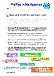 five ways to fight depression worksheet free esl printable full screen