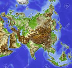 Relief Map Asia Shaded Relief Map Colored According To Elevation Includes