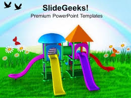 colorful playground with game theme powerpoint templates ppt