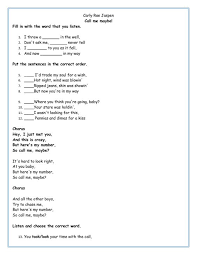 song worksheet call me may be fill in the blank work sheets of