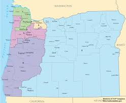 Map Of California And Oregon by Oregon U0027s Congressional Districts Wikipedia