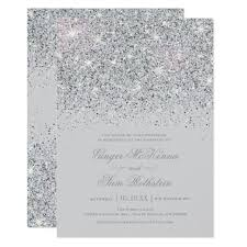 sparkling silver glitter wedding invitations zazzle