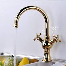 robinet laiton cuisine robinet rotatif de cuisine style européen couleur or muni de deux