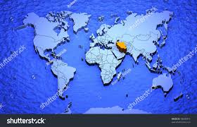World Map Iran by 3d Graphic Depicting World Map Highlighting Stock Illustration