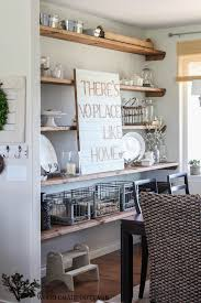 abundant vintage style kitchen decors with barn wood open shelving