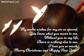 warm wishes sis christmas message sister
