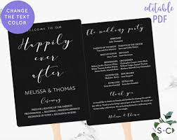 Rustic Wedding Program Fans Wedding Program Fan Etsy