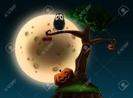 an illustration of a halloween tree with pumpkins and an owl