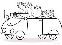 peppa pig con tutta la famiglia in auto direzione