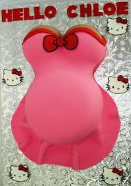 pregnant belly baby shower cake in pink with hello kit u2026 flickr