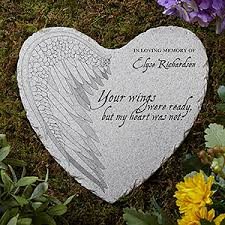 personalized memorial stones personalized memorial heart garden your wings