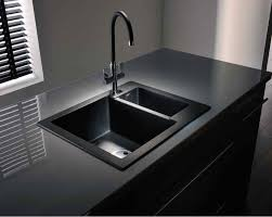 Abode Zero  Bowl Black Granite Reversible Inset Kitchen Sink - Black granite kitchen sinks