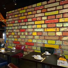 custom 3d mural 3d color brick wall painting ktv bar restaurant barbecue cafe background graffiti art