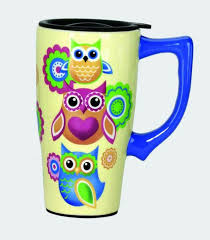 unique owl lovers coffee travel mug with plastic lid owl coffee