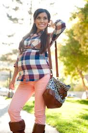 Maternity Plaid Shirt Plaid Shirt And Colored Jeans Find More Maternity Styling Tips