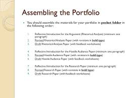 Assembling the Portfolio You should assemble the materials for your portfolio in pocket folder in the SlidePlayer