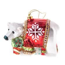 gisela graham christmas painted glass polar bear christmas