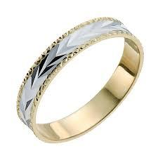 ring weding 9ct yellow white gold diamond cut patterned ring h samuel