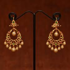 chandbali earrings online shop anvi s chand bali studded with stones emeralds and