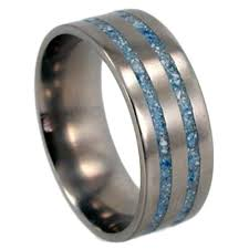 blue titanium wedding band crushed turquoise wedding band titanium ring for men or women