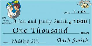 wedding gift or check custom oversized wedding check front sized big blank checks