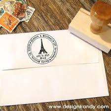 Eiffel Tower Wedding Invitations Paris Eiffeltower Custom Address Stamp With Hearts For Save The