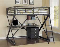 solid metal black full loft bed with x frame and computer desk